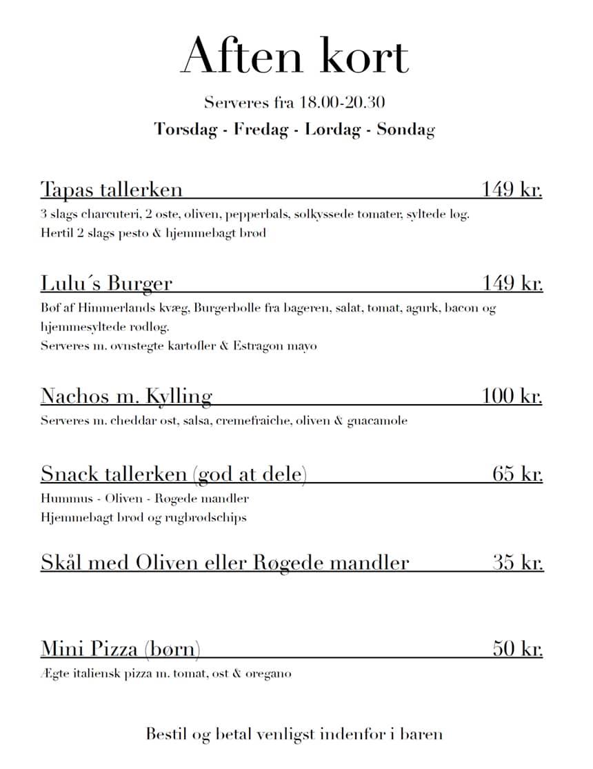 Lulus cafe - aftenmenu juli 2021